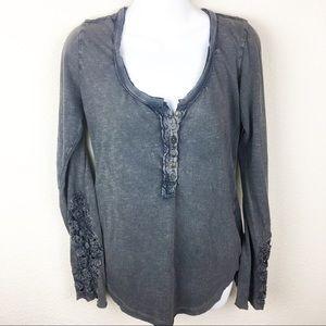 Free People Gray crochet cuff long sleeve shirt